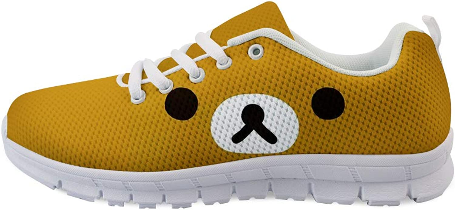 Owaheson Laceup Sneaker Training shoes Mens Womens Unhappy Brown Bear Face