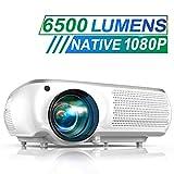 Vidéoprojecteur, TOPTRO 6500 Lumens Vidéo Projecteur Full HD 1080P Natif 1920x1080 Rétroprojecteur LCD Soutien 4K, Correction Trapézoïdale 4D, Fonction Zoom X/Y, Projecteur LED pour Home Cinéma, Blanc