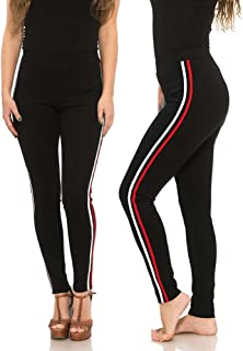 MJE International Women's Super Soft Butt Lifting Pants with Colored Side Stripes