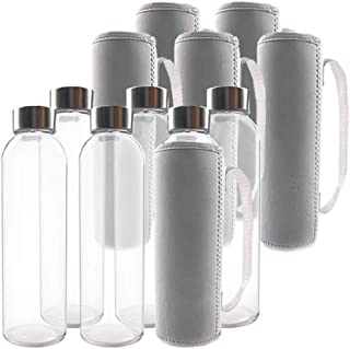 TeiKis Glass Water Bottles 18oz with Stainless Steel Cap and Nylon Protection Sleeves