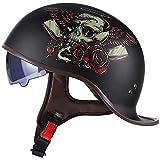 Motocicleta Retro Medio Casco,ECE Homologado con Visera Cascos Vintage Style Helmet Bici Viaje Crucero Scooter Bicicleta para Adultos Hombres Mujeres C,L59~60CM