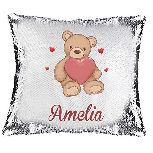 Active Decor Magic Reveal Sequin Cushion Cover a PERSONALISED Pillow Love Teddy Bear Design, Bespoke Custom Made Xmas
