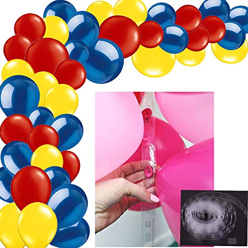 100Pack Blue Red Yellow Balloon Arch and Garland Kit-100pcs Latex Balloons, 16 Feets Arch Balloon Strip Tape for Birthday Baby Shower Decorations