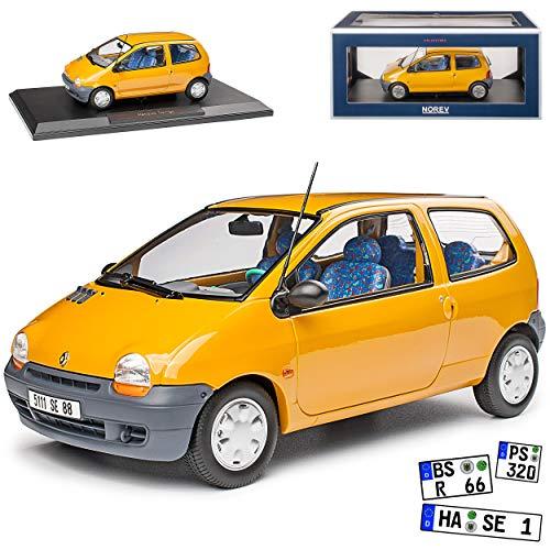 Renault Twingo I Gelb 1. Generation 1993-2007 1/18 Norev Modell Auto mit individiuellem Wunschkennzeichen