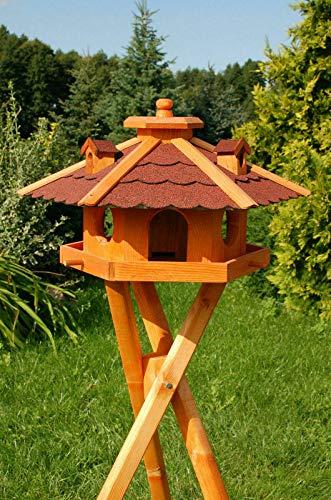 DEKO VERTRIEB BAYERN XXL Premium - Luxus Vogelhaus mit/ohne Solar/mit/ohne Ständer Holz Futterhaus Vogelfutterhaus Vogelvilla Modell 2020, Rot + Solar + Ständer