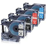 Oozmas Compatible Label Tape Replacement for Dymo 18445 1805436 1805422 1805417 Permanent Vinyl Label Tape Industrial Rhino Labels 3/4 Inch, Compatible with RhinoPro 4200 5200 Label Printers, 4 Pack