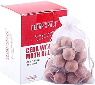 Cedar Balls - Cedar Blocks for Closets Storages, 100% Natural Aromatic Red Cedar Wooden Balls 24 Pcs with Satin Bag