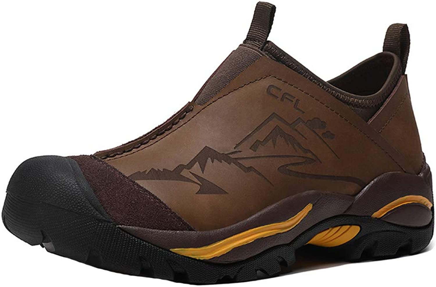 Men's Walking shoes, Hiking shoes Lightweight Trainers Waterproof Low-Top Non Slip Breathable Safety for Outdoor Trekking Travelling Climbing,Brown,44