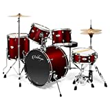 Ashthorpe 5-Piece Full Size Adult Drum Set with Remo Heads & Premium Brass Cymbals - Complete Professional Percussion Kit with Chrome Hardware - Red