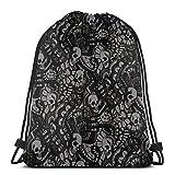 BXBX Plegable Drawstring Backpack Bag Sport Gym Sackpack Cinch Bag for School Yoga Gym Swimming Travel Unisex - Scary Skull Horror