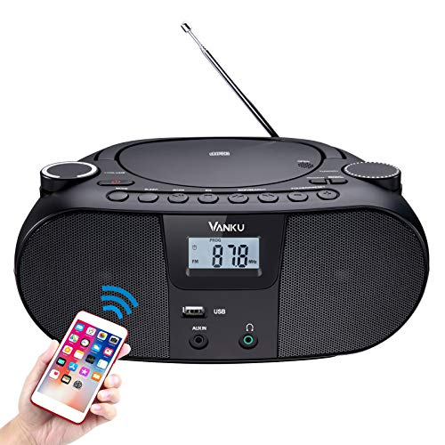 Vanku Radio portatili boombox con bluetooth,batteria ricaricabile per 12 ore, Supporta CD, radio FM, Sleepmode, USB, AUX, antiurto, 18 mesi di garanzia