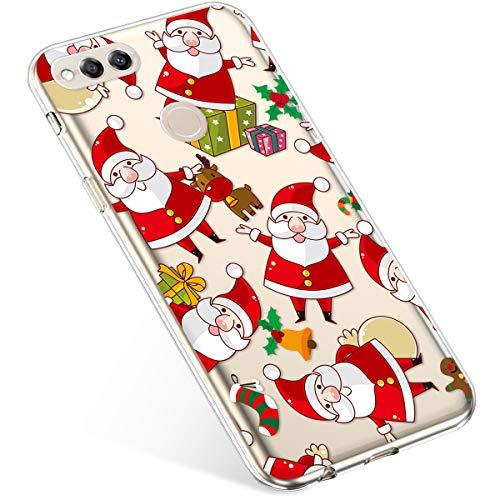 Uposao Kompatibel mit Handyhülle Huawei Honor 7X Schutzhülle Silikon Transpatente Hülle mit Weihnachten Muster Durchsichtige Handytasche Ultra Dünn Weich TPU Bumper Case Backcover,Santa Claus