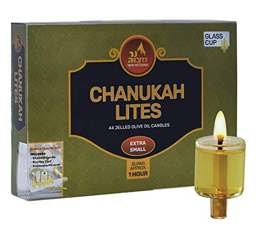 Ner Mitzvah Menorah Jelled Oil Cup Candles - Pre-Filled Hanukkah Chanukah Lights - Olive Oil with Cotton Wick in Glass Cup - Extra Small Size, 44 per Pack, Burns Approx. 1 Hour