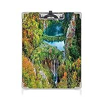 クリップボード 用箋挟 クロス貼 A4 短辺とじ 秋の装飾 フォルダーボードフォルダーライティングボード (2パック)プリトヴィチェ湖群国立公園クロアチアの装飾的な秋の渓谷の装飾グリーンブルーオレンジ