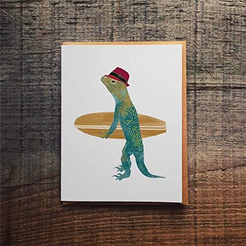 Tarjeta de felicitación de lagarto con tabla de surf Iguana miscelánea con sobres tarjeta divertida de 10 x 7 pulgadas pf087