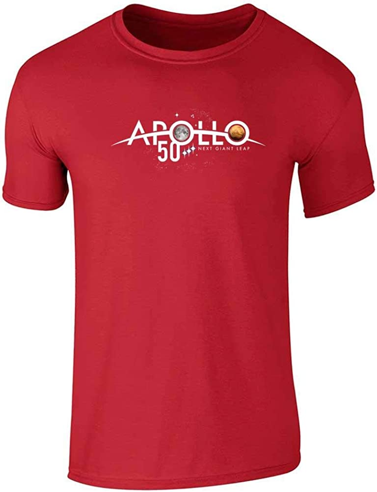 NASA Approved Apollo Next Giant Leap 50th Logo Red 2XL Graphic Tee T-Shirt for Men