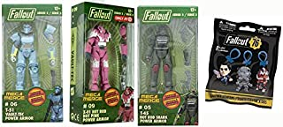 Rule The Wastelands Series 2 Mega Pack: T-45 Hot Rod Shark, T-51 Vault Tec Power Armor, X-01 Hot Rod Hot Pink Power Armor (Exclusive) Buildable Character Figure + Bonus 76 Fallout Hanger Bag 4 Pack
