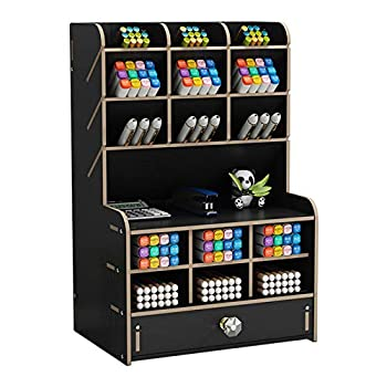 Marbrasse Upgraded Wooden Pencil Holder Pen Organizer for Desk with 15 Compartments + Drawer Desktop Stationary Storage Organizer Caddy Easy Assembly  Black