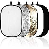 Aosnow 5 in 1楕円レフ板 撮影用レフ板 折りたたみ可能(銀、金、白、黒、半透明) (100 x 150cm)