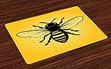 ABAKUHAUS Abeja Reina Salvamantel Set de 4 Unidades, Vista Detallada de Insectos, Deco para la Mesa Lavable Cocina Estampa Digital, Tierra Gris Amarillo