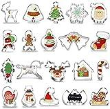 CHEPL Moldes de Galletas Navidad 20PCS Cortapastas para Galletas Navidad Moldes Galletas Cortador Galletas Acero Inoxidable para Cookie Fondant Formas Variadas Fiesta Navidad Galletas