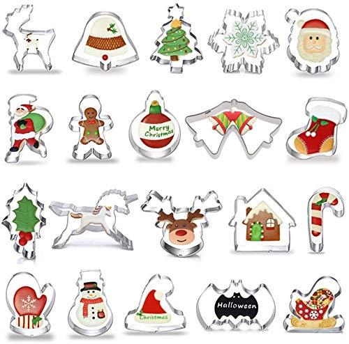 CHEPL Weihnachten Ausstechformen Set 20 Stück Weihnachten Plätzchenform Edelstahl Kuchenform Rostfreier Stahl Schimmel Weihnachtsbaum Lebkuchenmann Krücken Schneeflocke Elk