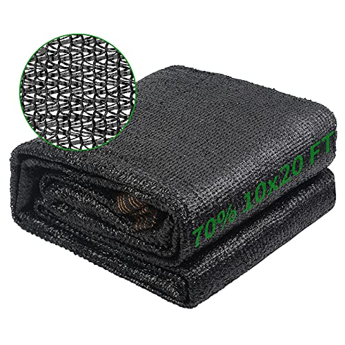 Ztalee 70% Shade Cloth Black Heat Insulation Net, 10' x 20' Shade Net for Sun Protection, Taped Edge...