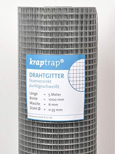 kraptrap® Volierendraht, Drahtgitter, 6x6 mm Masche, Mäusegitter, Gitterdraht (5m x 1m)