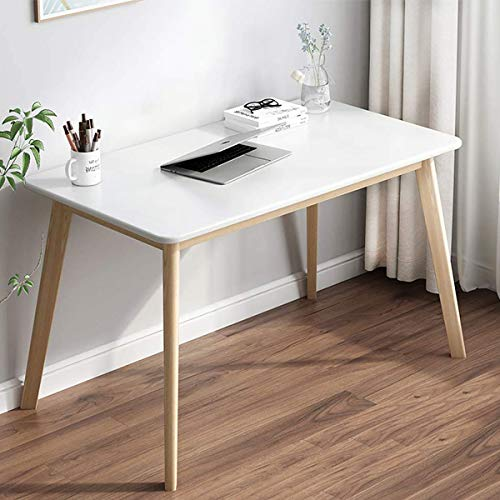 Computer Desk, 48 Inch Modern Simple Sturdy Wood Study Writing Table Wide Desktop Laptop Space Table for Home Office