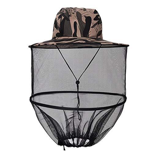 MAFAGE Mosquitera para la Cabeza de la Selva, máscara de protección de la Cara, Sombrero de Pesca, Camuflaje Mosca, Insectos, Abeja, con Malla
