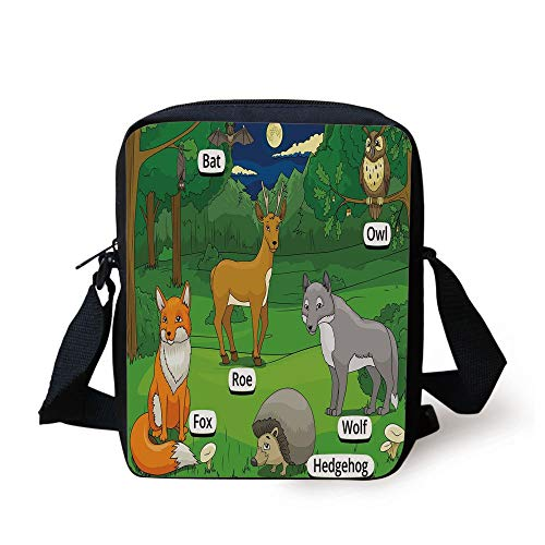 Educational,Forest with Cartoon Animals with Names Educational Intellectual Fun Kids Game Decorative,Multicolor Print Kids Crossbody Messenger Bag Purse