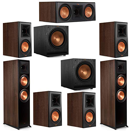Best Deals! Klipsch 7.2 Walnut System 2 RP-8000F Floorstanding Speakers, 1 Klipsch RP-600C Center Sp...
