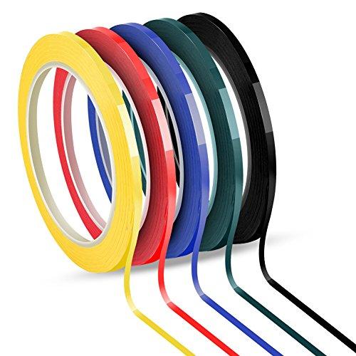 Jalan Whiteboard Klebeband, Graphic Chart Tape, Selbstklebend, 5 Farben Sortiert, 3 mm x 66 m pro Rolle, Packung mit 5 Rollen