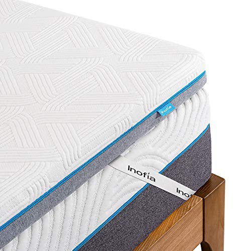 Inofia Sleep Memory Foam Mattress Topper Bed,3Inch LATEXCH Mattress Topper for Back Pain with Removable Cover and Storage Bag, Rest Easy on Sofa, Mattress, Camping Car Mattress(90×200cm
