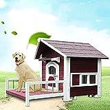 DHYBDZ Casa de Madera para Perros al Aire Libre para Perros pequeños y medianos, Perrera con Aislamiento de Porche Grande para Uso Exterior, Muebles para Mascotas extragrandes