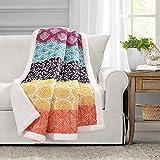 Lush Decor Bohemian Stripe Sherpa Throw Blanket, 60' x 50', Fuchsia & Orange