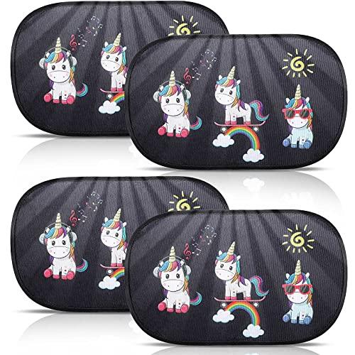 4 Piezas Sombras de Coche para Niños Parasol de Coche Unicornio de Traseras Parasol de Ventana Lateral de Adherencia Estática para Bebé Niños Adultos