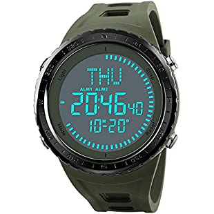 New Compass Mens Military Watch, Sports Wrist Digital Watch with Large Dial Fashion LED Electronic Wrist Watch Army Waterproof Army Green Watches