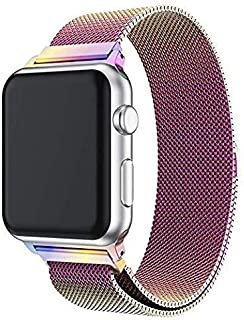 For Apple Watch band stainless steal magnetic series 3/4/5 size 42/44mm high light multi color