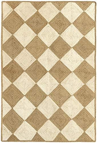HAMID - Alfombra Yute Somara Color Blanco y Natural - Alfombra 100% Fibra de Yute (170x120cm)