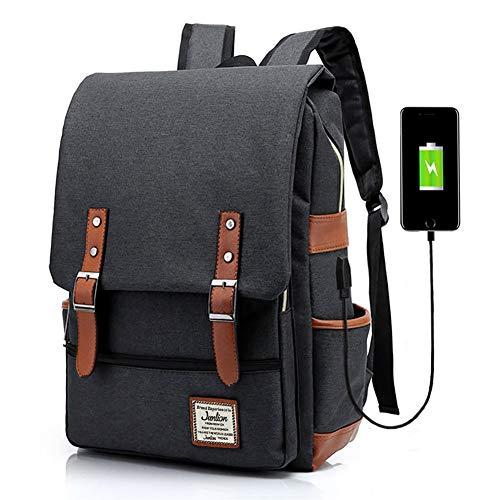 Junlion Unisex Business Laptop Rucksack College Student Schultasche Travel Rucksack Daypack mit USB Ladeanschluss Schwarz