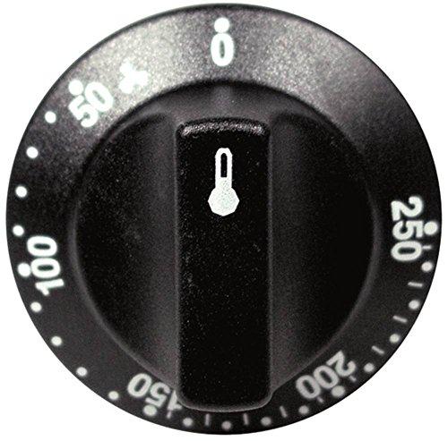 Smeg Knebel für Thermostat ø 55mm Symbol 50-250°C für Achse ø 6x4,6mm mit Abflachung oben mit langem Schaft schwarz