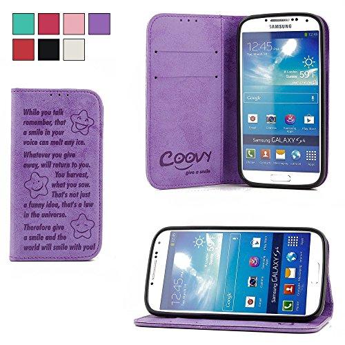 COOVY® Funda para Samsung Galaxy S4 GT-i9500 GT-i9505 GT-i9506 Billetera, Ranuras para Tarjetas, Cierre magnético, Soporte, Protectora de Pantalla | Smile | Color Morado