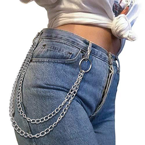 ZOYLINK Cadena De Pantalones Llavero Jean Cadena De Pantalones De Doble Capa De Metal Para Hombres Mujeres