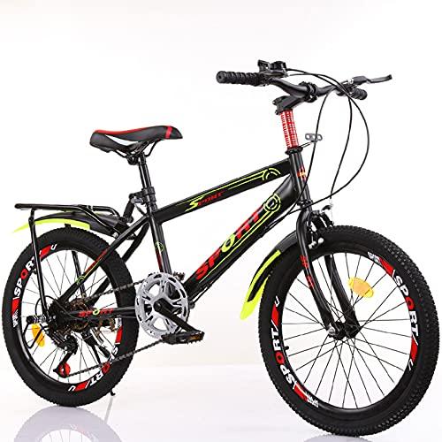 DWXN Bicicletas para niños 9-11 Velocidad Variable Negra con Asiento Trasero Neumático Grande Niños Niños MTB MTB Bicicleta 18 Pulgadas Ruedas Sport Edition