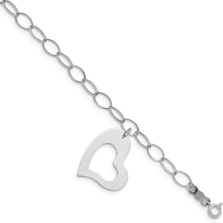 Beautiful White gold 14K 14k White gold Polished Dangle Heart Bracelet