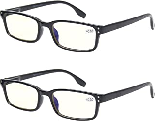 Computer Glasses 2 Pair UV Protection, Anti Blue Rays, Anti Glare and Scratch Resistant Computer Reading Glasses (2.5, 2 Pack Black)