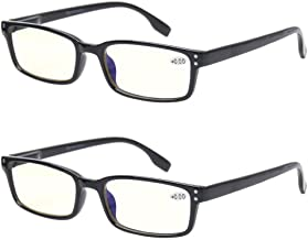Computer Glasses 2 Pair UV Protection, Anti Blue Rays, Anti Glare and Scratch Resistant Computer Reading Glasses (1.5, 2 P...