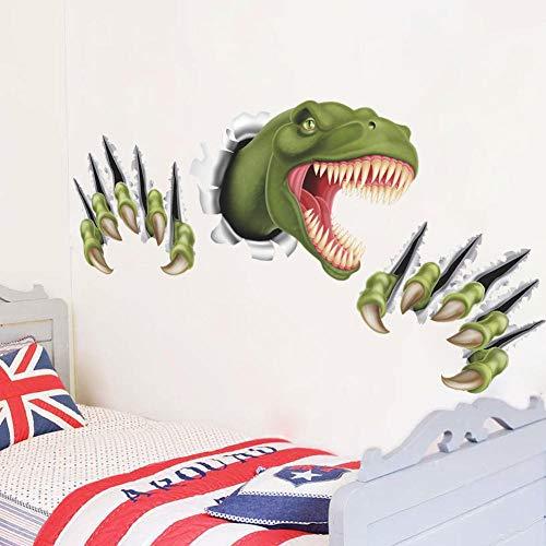 Cartoon Dinosaur Through Wall Stickers Kids Room Bedroom Decor Animal 3D Effect brocken Wall Home Decal Poster Children Toy g6 wangzhan
