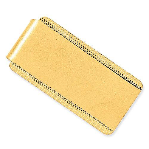 14 quilates grabable satinado pulido grabable borde diseño dinero clip joyería regalos para hombres